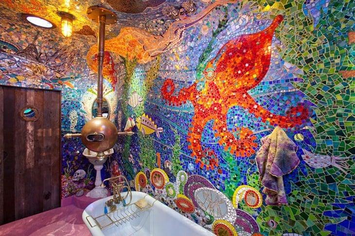 ванная комната окрашены, как подводный вид