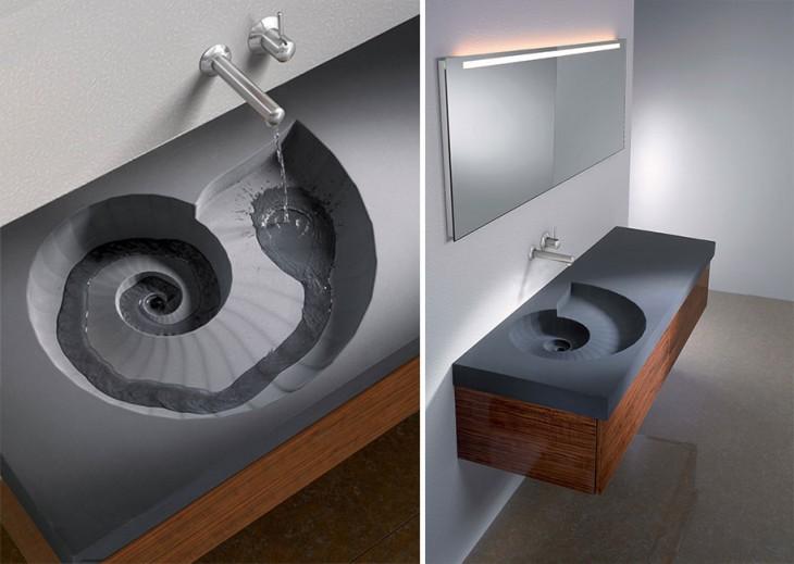lavamanos forma caracol