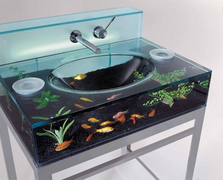 lavamanos con acuario