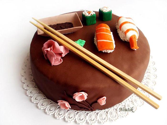 pastel en forma de comida japonesa