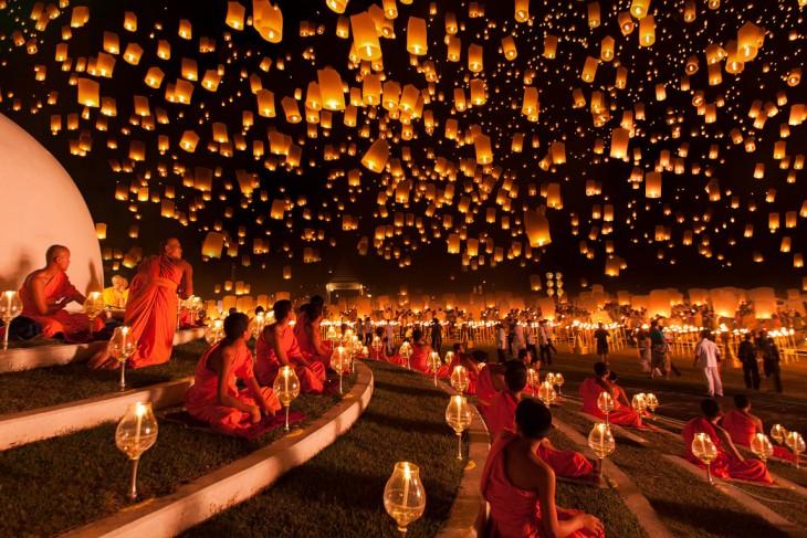 linternas colgando en la Festival de los Faroles, Asia