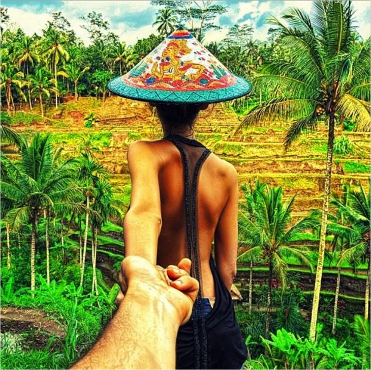 follow me campos de arroz Indonesia