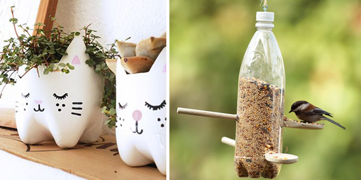 25 ideas para reutilizar o reciclar botellas de plastico for Interesting recycling ideas