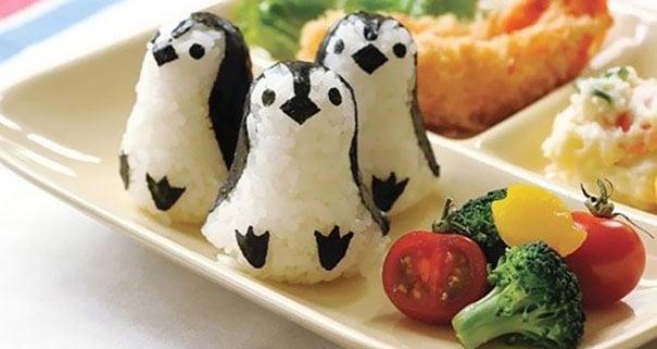 pigüinos hechos de arro