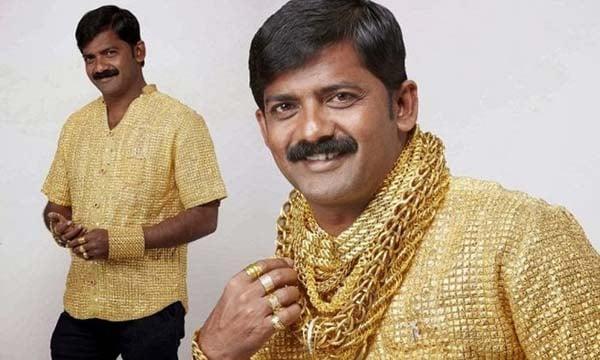 camisa bañada en oro