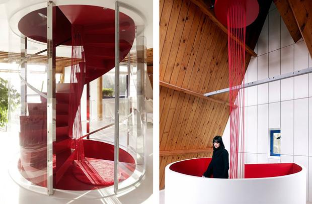 Escalera colgante para interior roja