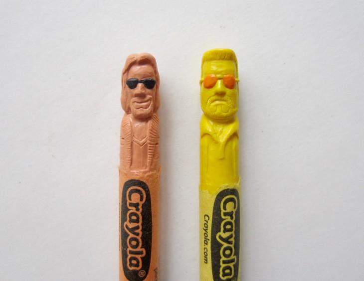 Dos crayolas con la cara de Big lebowski y  hoang tran