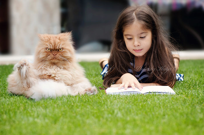 gato con nena leyendo