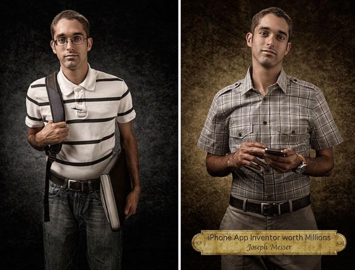Imagen comparativa de Joseph Messer, el inventor de aplicaciones para Iphone