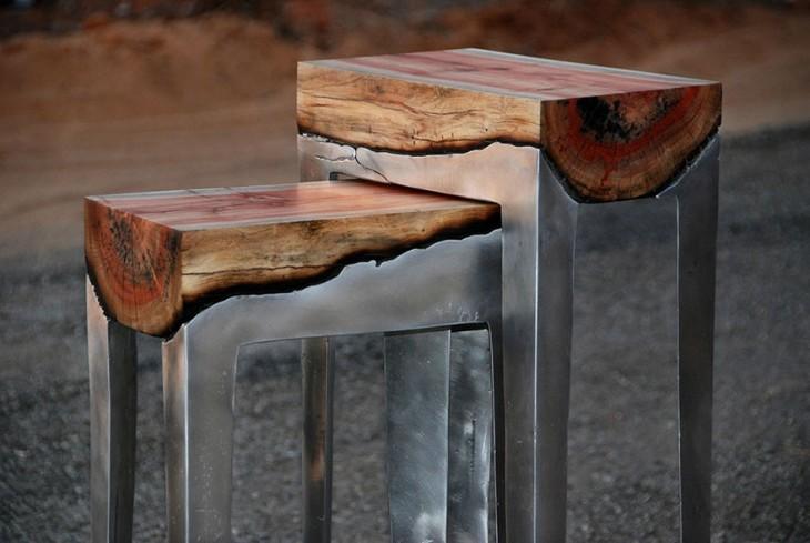Mesas hechas con madera y aluminio a la vez