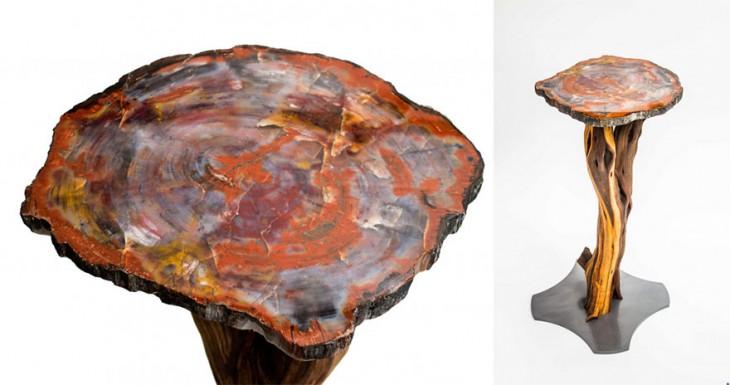 Mesa con el diseño de un tronco con cuarzos