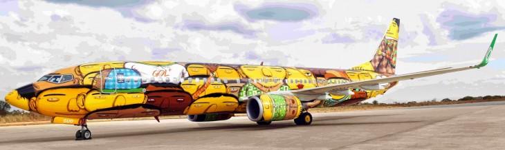 avion de la seleccion brasilera pintado por osgemeos