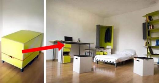 caja que se transforma en un cuarto