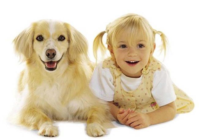 niña y perrito de cabello rubio