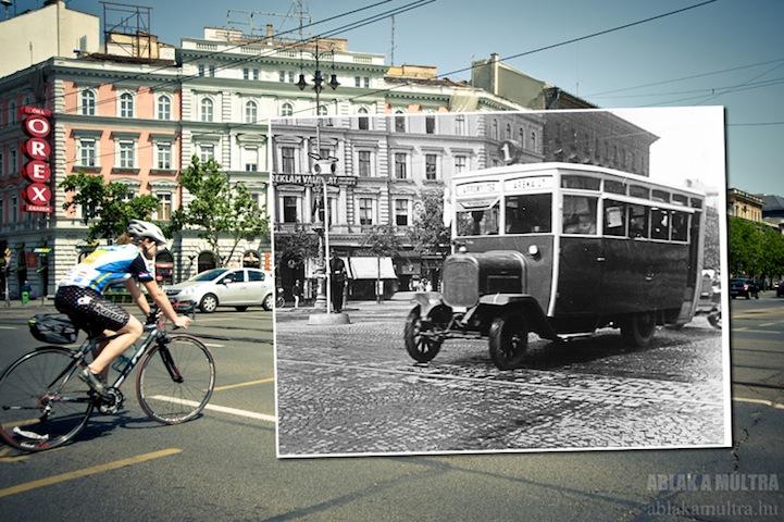 camión viejo andando en el centro de la ciudad