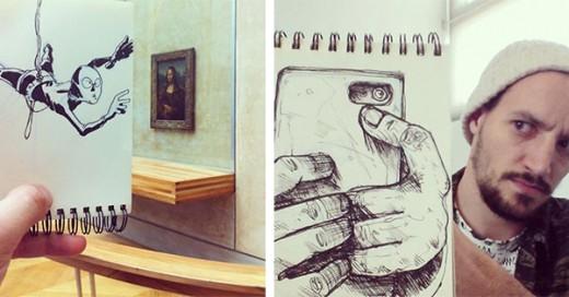 ilustraciones que interactuan con su entorno