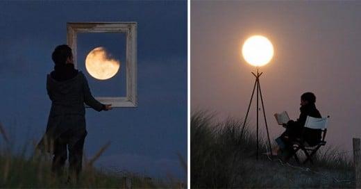personas jugando con la luna