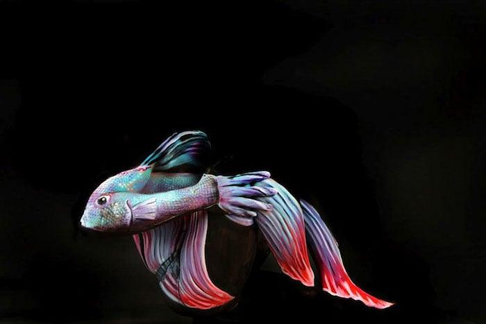 bodypaint de pez azul y rojo