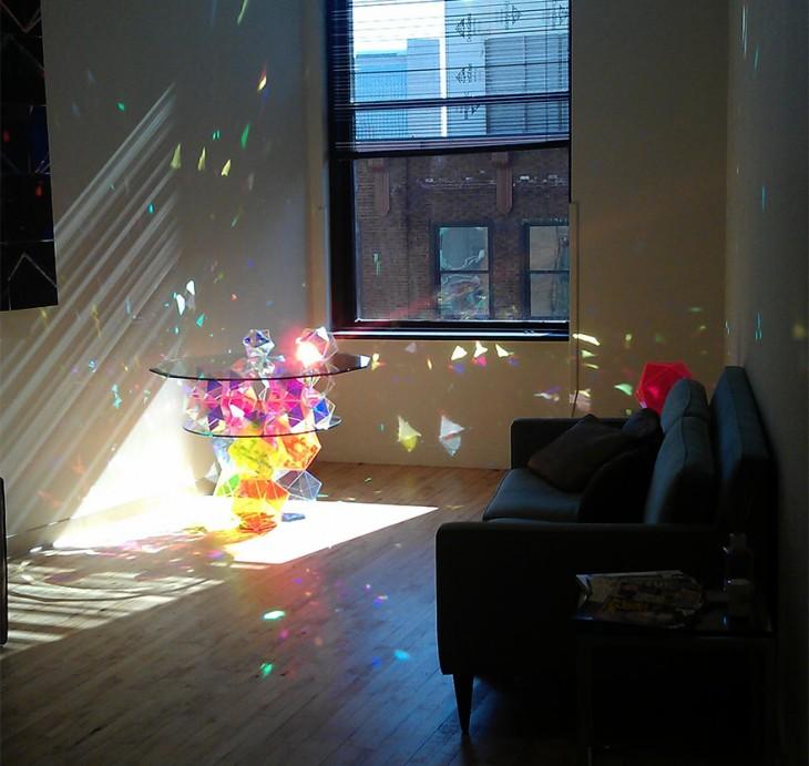mesa con luces discoteca