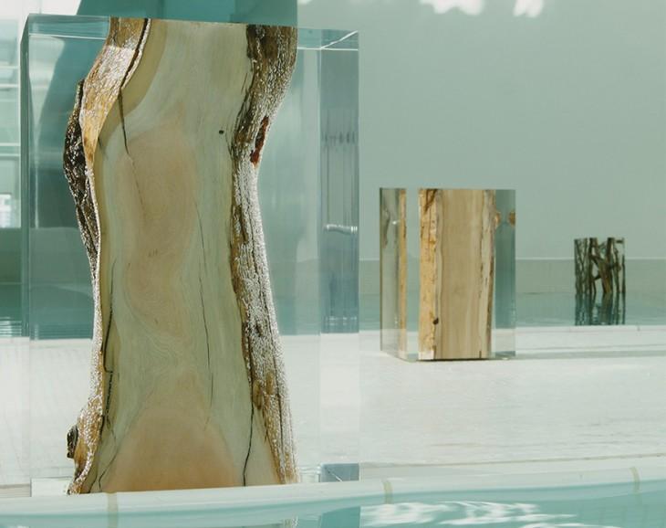mesas y asiento de vidrio y madera fundidos juntos