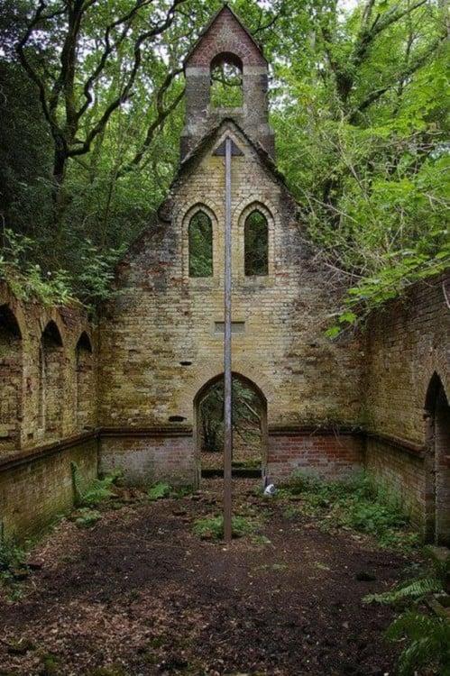 iglesia destruida por la vegetacion