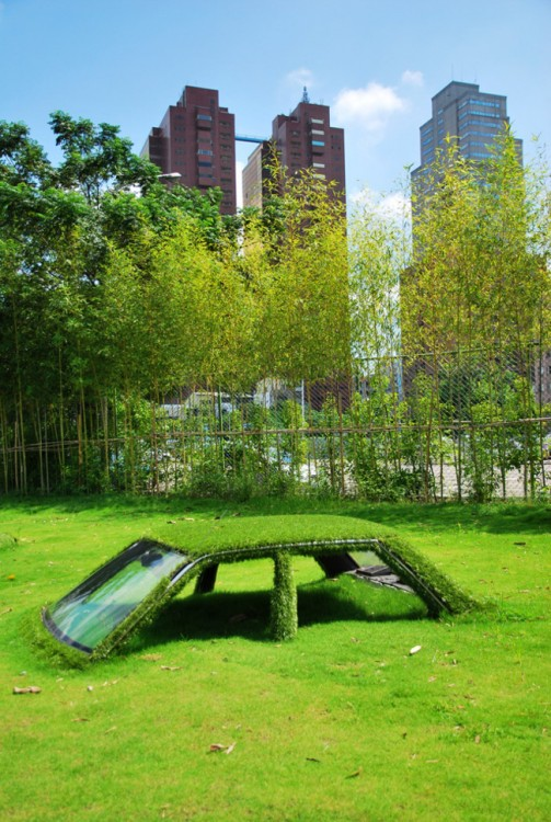 auto hundido en un campo de pasto