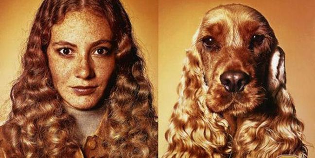 niña que se parece a su perro cocker