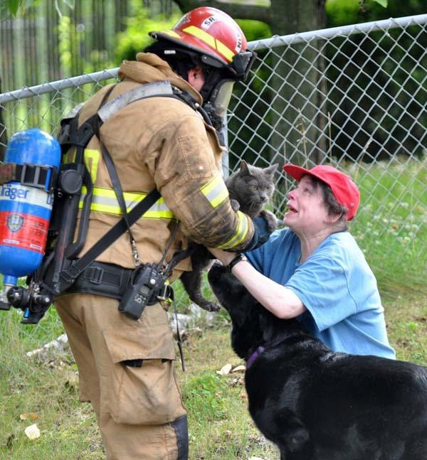 bombero rescata gato