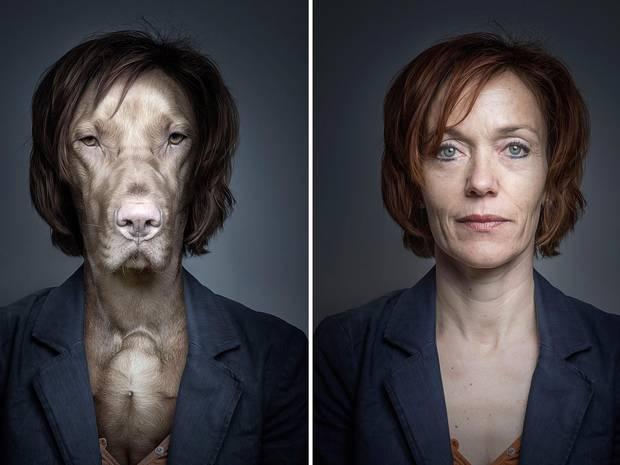 señora con saco y perro igual