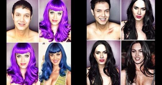 se transforma en celebridades est artista con maquillaje