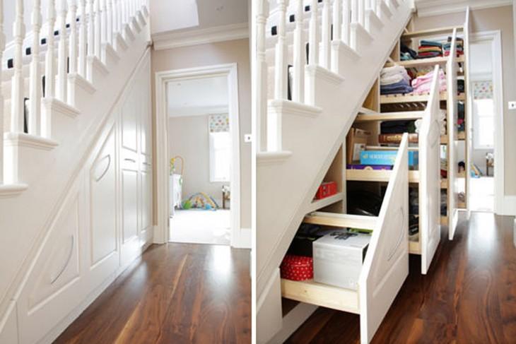 aprovechando el espacion con gabinetes debajo de las escaleras