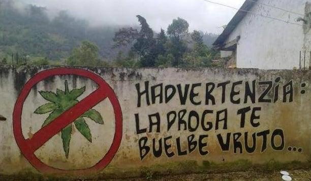 mural ironico sobre el uso ed la marihuaana