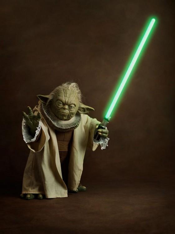 Yoda, personaje de Star Wars con vestimenta medieval del siglo XVl