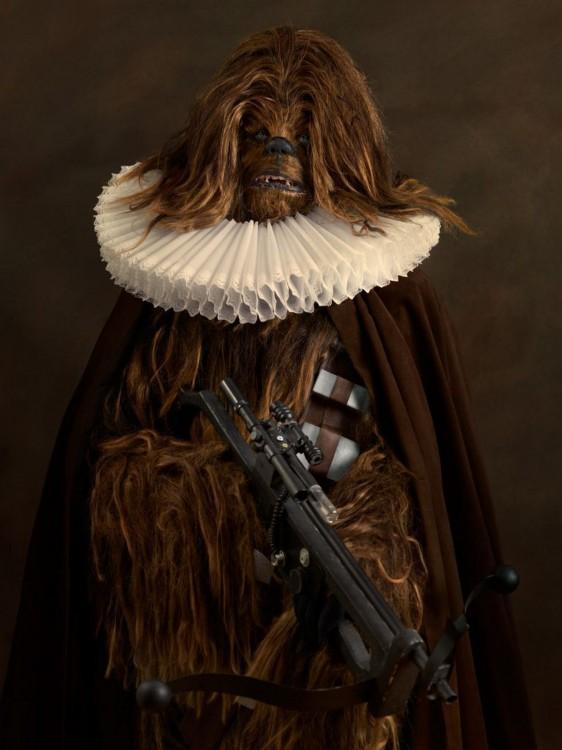 Chewbacca de Star Wars con una vestimenta medieval del siglo 16