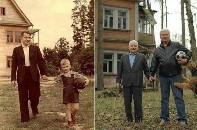 padre e hijo juntos con el paso del tiempo