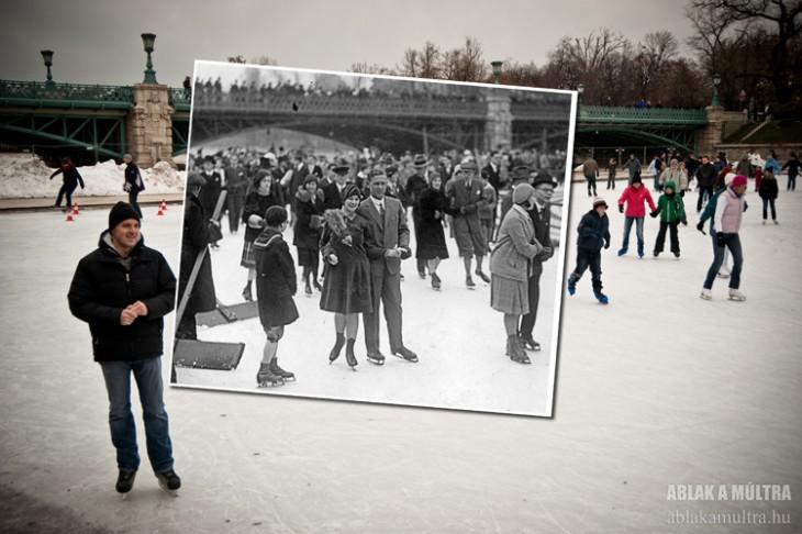 gente patinando en lago congelado