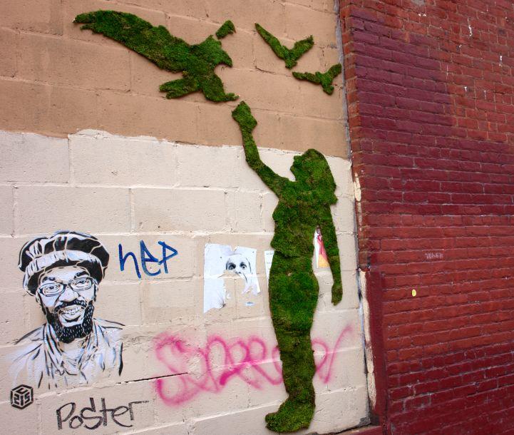 grafiti en mmusgo de una chica con aves