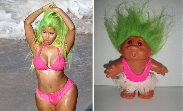 un muñeco trol que se parece a nicky minaj