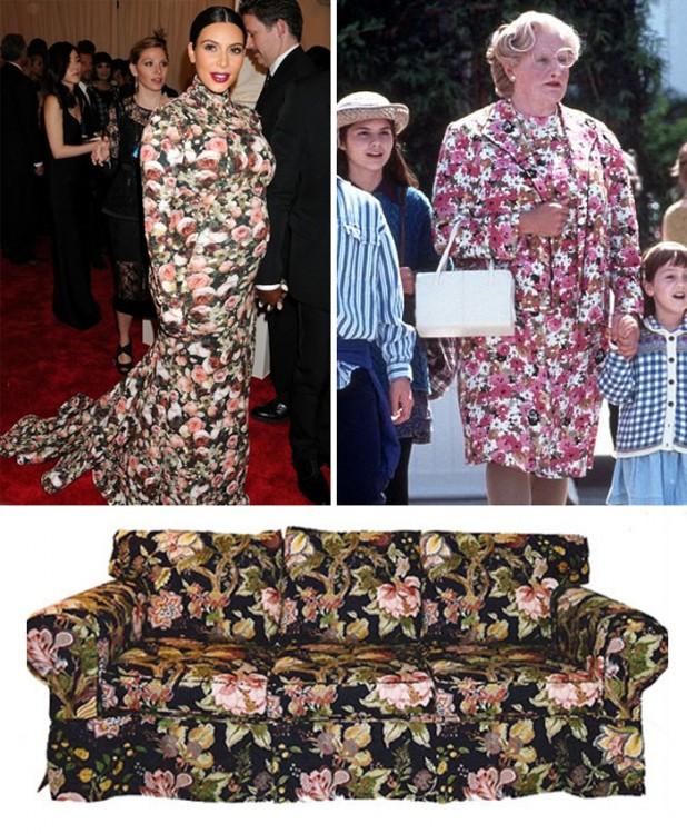 mujeres que usan un vestido que se parece a la tela de un sofa