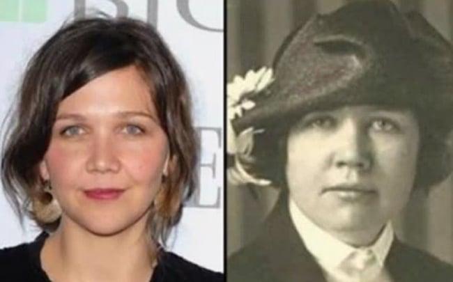 Maggie Gyllenhaal y una señora en una fotografía blanco negro de nombre Rose Wilder Lane