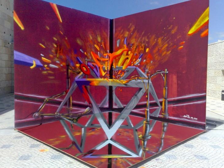 Grafiti con muchos colores formando un pentagono