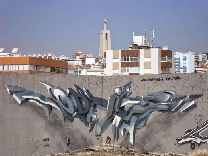 Grafiti en el edificio de una ciudad hecho por un artista portugués