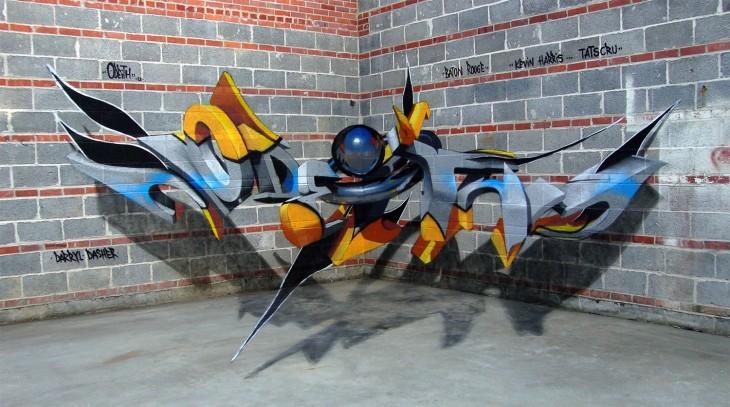 Grafitis en tercera dimensión por parte de un artista portugués