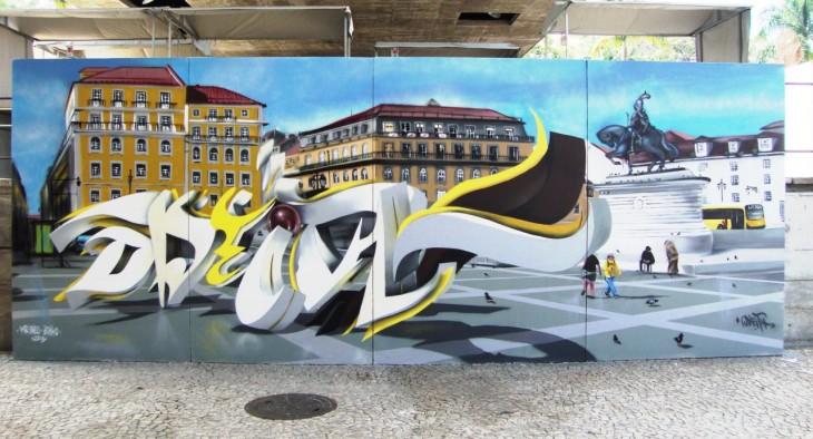 Grafiti de letras sobre edificios de una ciudad