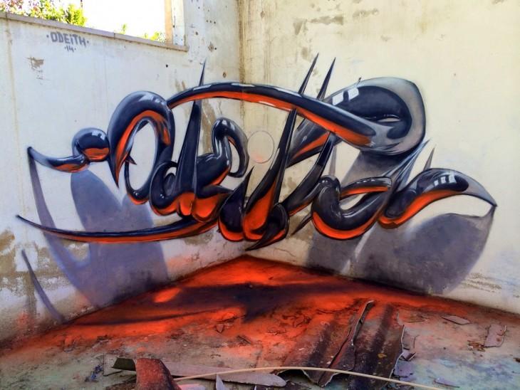 Grafitis en 3D por el artista portugués