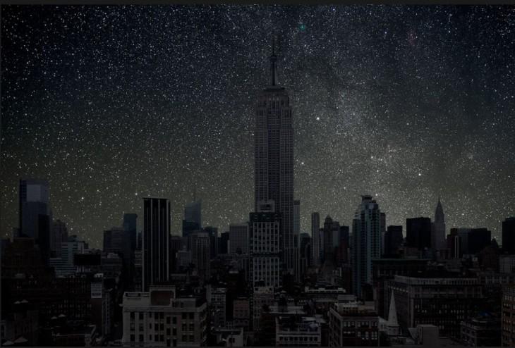 Edificios de la ciudad de Nueva York a oscuras