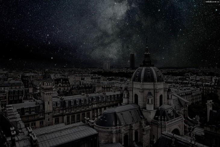 Edificios de la ciudad de París a oscuras