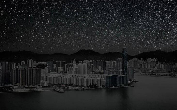 Ciudad de Hong Kong a oscuras