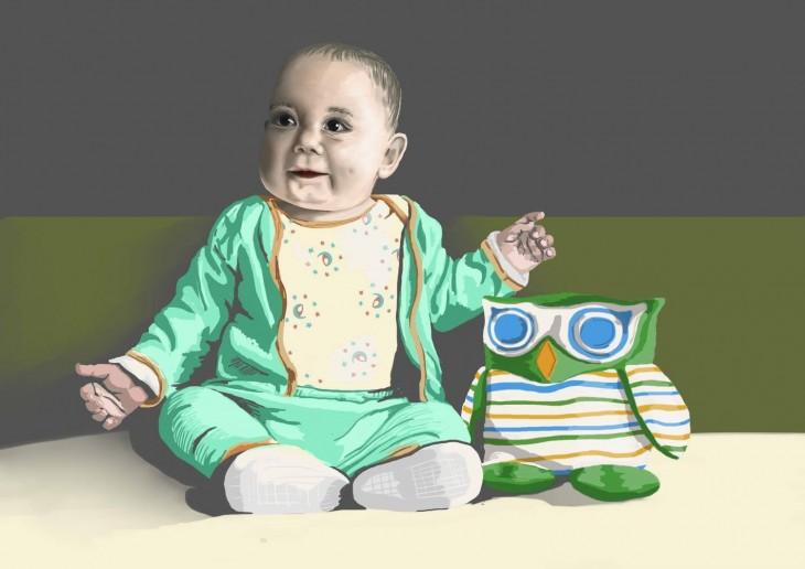 dibujo bebe sentado jugando