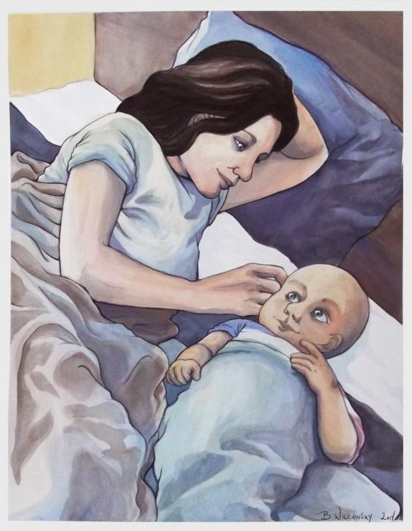 dibujo madre con su hijo acostado